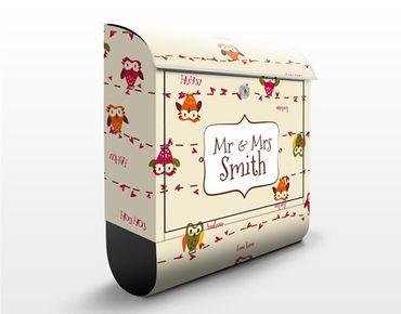 Briefkasten mit Zeitungsfach - Wunschtext Owl Howl