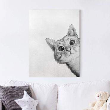Leinwandbild - Illustration Katze Zeichnung Schwarz Weiß - Hochformat 4:3