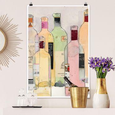 Poster - Weinflaschen in Wasserfarbe I - Hochformat 3:2