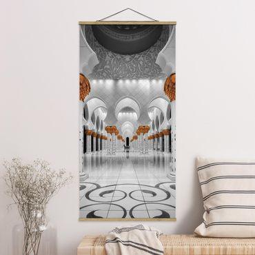 Stoffbild mit Posterleisten - In der Moschee - Hochformat 2:1