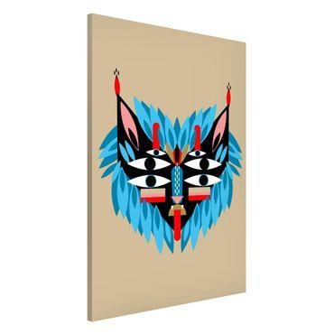 Magnettafel - Collage Ethno Maske - Löwe - Memoboard Hochformat 3:2