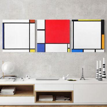 Leinwandbild 3-teilig - Piet Mondrian - Quadratische Kompositionen - Quadrate 1:1