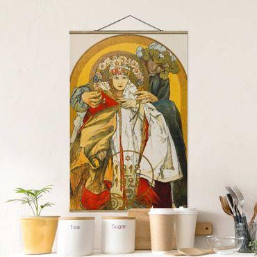 Stoffbild mit Posterleisten - Alfons Mucha - Plakat Tschechoslowakischen Republik - Hochformat 2:3