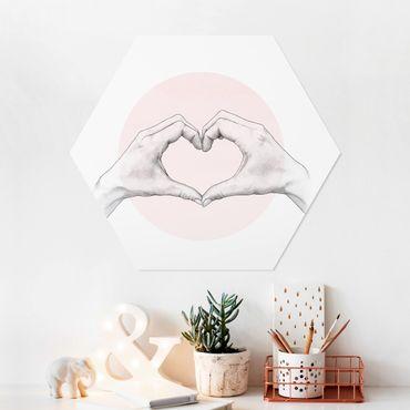 Hexagon Bild Forex - Illustration Herz Hände Kreis Rosa Weiß