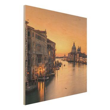 Holzbild - Goldenes Venedig - Quadrat 1:1