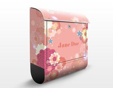 Briefkasten mit Zeitungsfach - No.EK421 Wunschtext Flower Rain - Blumen Bunt