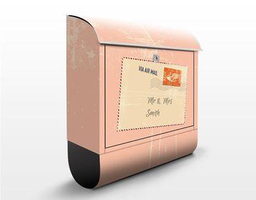 Briefkasten mit Zeitungsfach - No.EK430 Wunschtext Via Airmail
