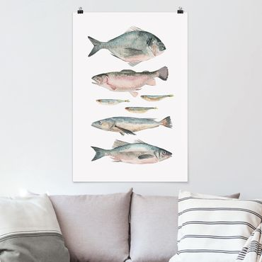 Poster - Sieben Fische in Aquarell II - Hochformat 3:2