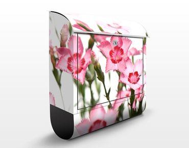 Briefkasten mit Zeitungsfach - Pink Flowers - Blumen Rosa, Pink