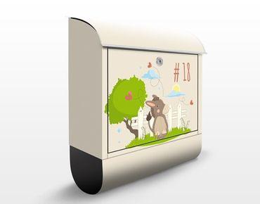 Briefkasten mit eigenem Text & Hausnummer - No.JS109 Wunschtext Esel