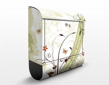 Briefkasten mit Zeitungsfach - Frühlingszeit - Wandbriefkasten