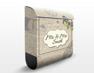 Briefkasten mit Zeitungsfach - No.JS181 Wunschtext Schreibfeder