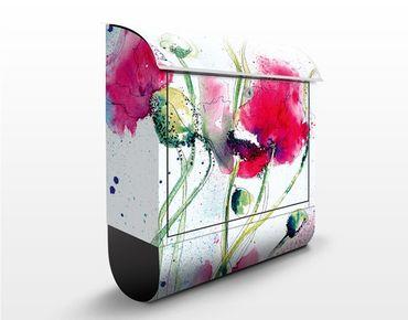 Briefkasten mit Zeitungsfach - Painted Poppies - Blumen Rosa, Pink