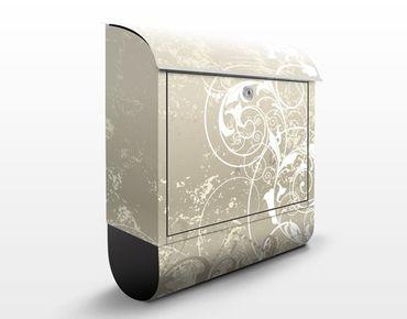 Briefkasten mit Zeitungsfach - Perlmutt Ornament Design - Wandbriefkasten