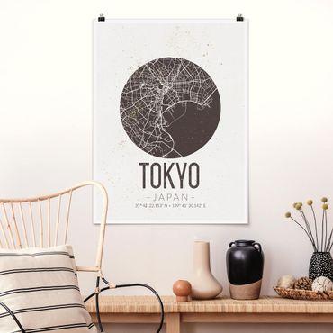 Poster - Stadtplan Tokyo - Retro - Hochformat 3:4