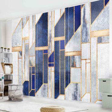 Schiebegardinen Set - Elisabeth Fredriksson - Geometrische Formen mit Gold - 6 Flächenvorhänge