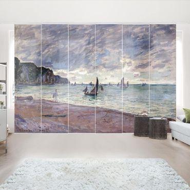 Schiebegardinen Set - Claude Monet - Fischerboote vor der Küste und den Felsen von Pourville - Flächenvorhänge