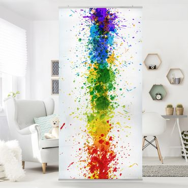 Raumteiler Kinderzimmer - Rainbow Splatter 250x120cm