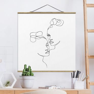 Stoffbild mit Posterleisten - Line Art Gesichter Frauen Schwarz Weiß - Quadrat 1:1