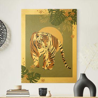 Leinwandbild Gold - Safari Tiere - Tiger - Hochformat 3:4