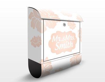 Briefkasten mit Zeitungsfach - No.JS318 Wunschtext Rosa Blüten