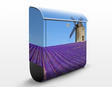Briefkasten mit Zeitungsfach - Lavendelduft in der Provence - Hausbriefkasten Blau