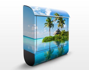 Briefkasten mit Zeitungsfach - Tropisches Paradies - Hausbriefkasten Blau