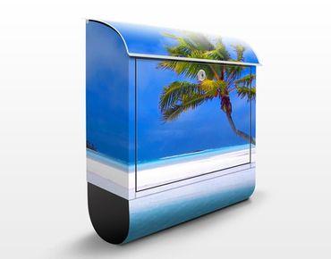 Briefkasten mit Zeitungsfach - Tropical Dream - Hausbriefkasten Blau