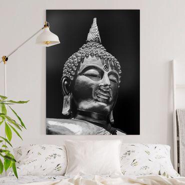 Leinwandbild - Buddha Statue Gesicht - Hochformat 4:3
