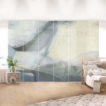 Schiebegardinen Set - Fangzähne mit Türkis IV - Flächenvorhang