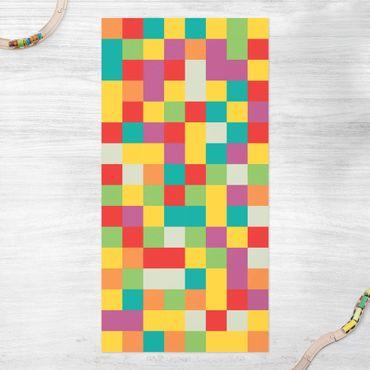 Vinyl-Teppich - Buntes Mosaik Zirkus - Hochformat 1:2