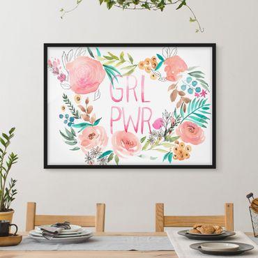 Bild mit Rahmen - Rosa Blüten - Girl Power - Querformat 3:4