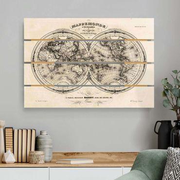 Holzbild - Weltkarte - Französische Karte der Hemissphären von 1848 - Querformat 2:3