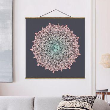 Stoffbild mit Posterleisten - Mandala Ornament in Rose und Blau - Quadrat 1:1
