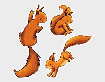 Fensterfolie - Fenstersticker Drei Einhörnchen - Fensterbilder