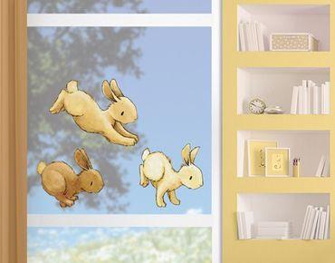 Fensterfolie - Fenstersticker Hoppelnde Häschen - Fensterbilder