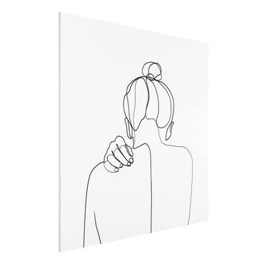 Forex Fine Art Print - Line Art Frau Nacken Schwarz Weiß - Quadrat 1:1