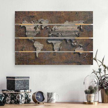 Holzbild - Holz Rost Weltkarte - Querformat 2:3