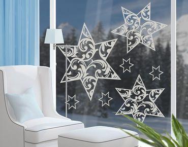 Fensterfolie - Fenstertattoo No.YK11 Florale Sterne Set - Milchglasfolie