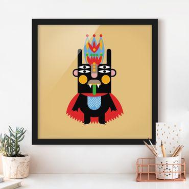 Bild mit Rahmen - Collage Ethno Monster - König - Quadrat 1:1