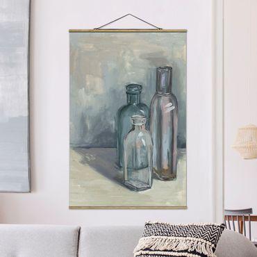 Stoffbild mit Posterleisten - Stillleben mit Glasflaschen I - Hochformat 3:2