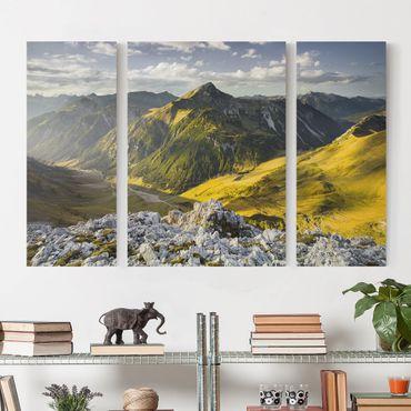 Leinwandbild 3-teilig - Berge und Tal der Lechtaler Alpen in Tirol - Triptychon