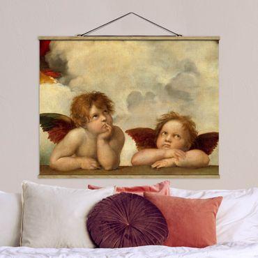 Stoffbild mit Posterleisten - Raffael - Zwei Engel - Querformat 4:3
