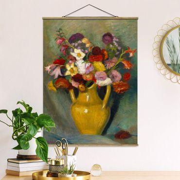 Stoffbild mit Posterleisten - Otto Modersohn - Bunter Blumenstrauß - Hochformat 3:4