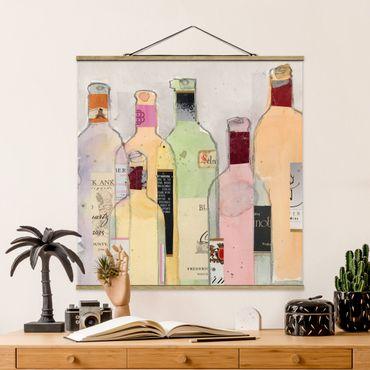 Stoffbild mit Posterleisten - Weinflaschen in Wasserfarbe I - Quadrat 1:1