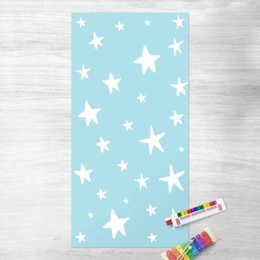Vinyl-Teppich - Gezeichnete große Sterne im Blauen Himmel - Hochformat 1:2