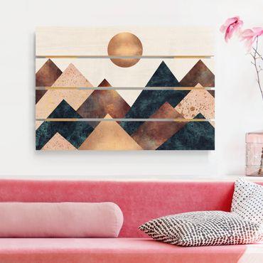 Holzbild - Elisabeth Fredriksson - Geometrische Berge Bronze - Querformat 2:3
