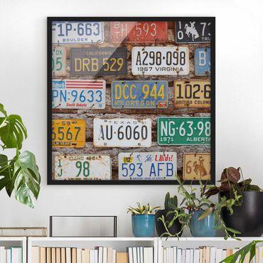 Bild mit Rahmen - Amerikanische Nummernschilder auf Holz - Quadrat 1:1