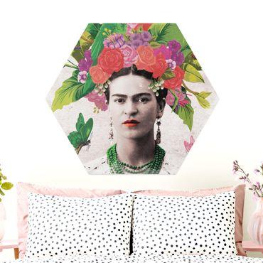 Hexagon Bild Alu-Dibond - Frida Kahlo - Blumenportrait