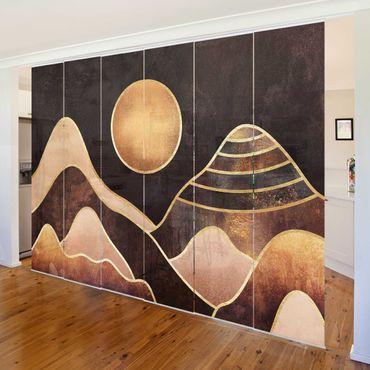 Schiebegardinen Set - Elisabeth Fredriksson - Goldene Sonne abstrakte Berge - 6 Flächenvorhänge